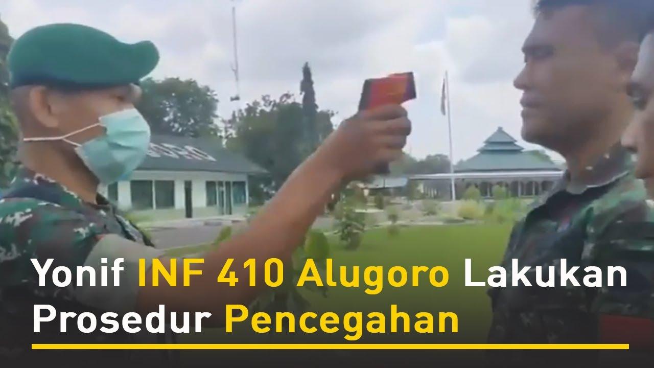 Berita pati Pati Yonif INF 410 Alugoro Lakukan Prosedur Pencegahan penyebaran virus covid 19 di lingkungan Yonif INF Alugoro Pati